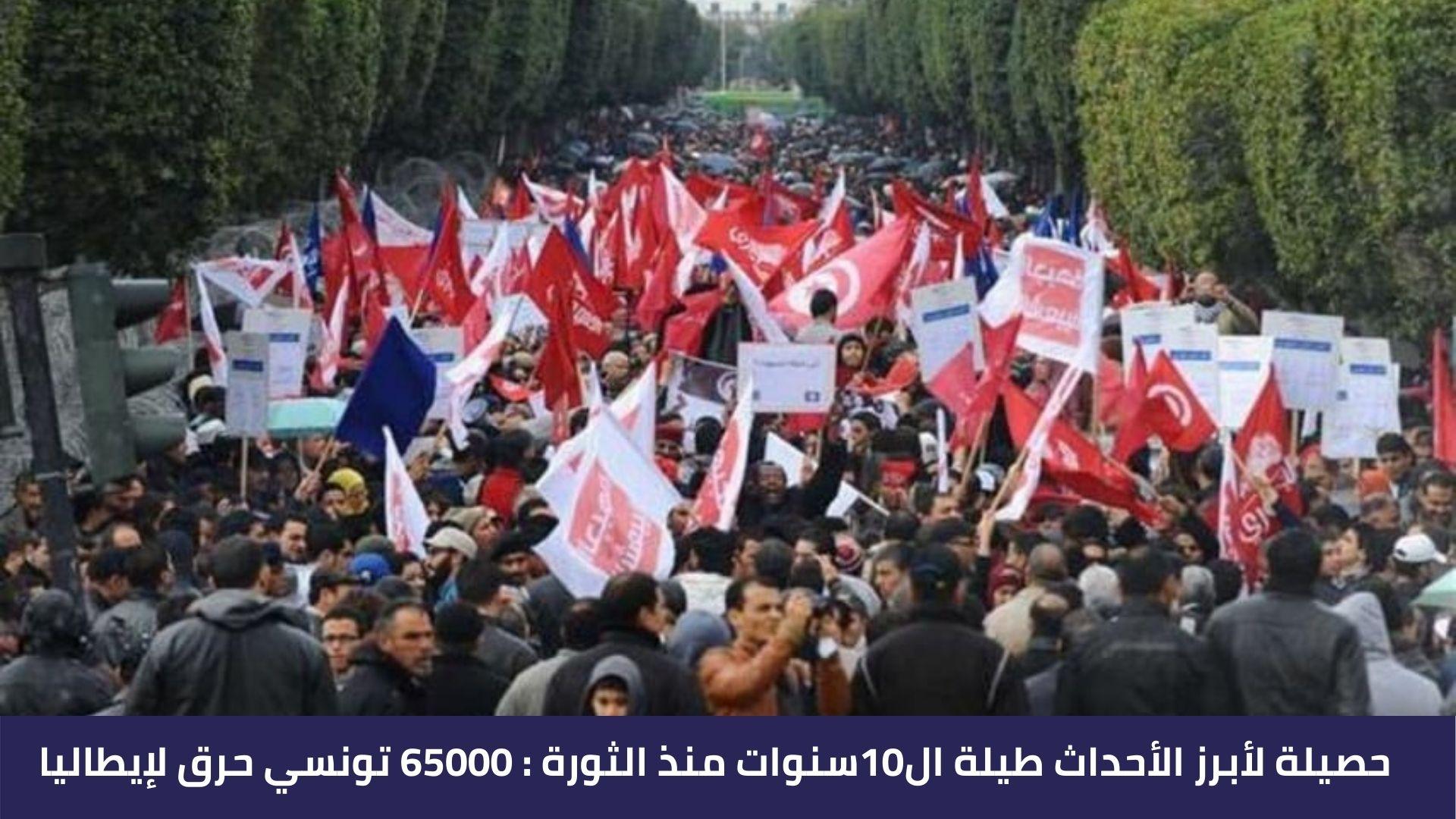 حصيلة لأبرز الأحداث طيلة ال10سنوات منذ الثورة : 65000 تونسي حرق لإيطاليا
