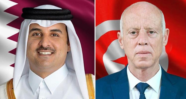 أمير دولة قطر يؤكد لقيس سعيد على استعداد بلاده لدعم تونس ومؤسساتها