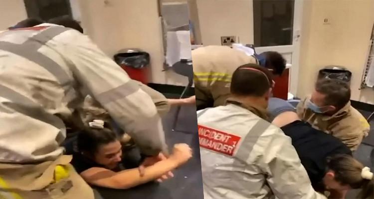 تخليص فتاة بشق الأنفس بعد أن علقت داخل آلة غسيل الملابس (فيديو)