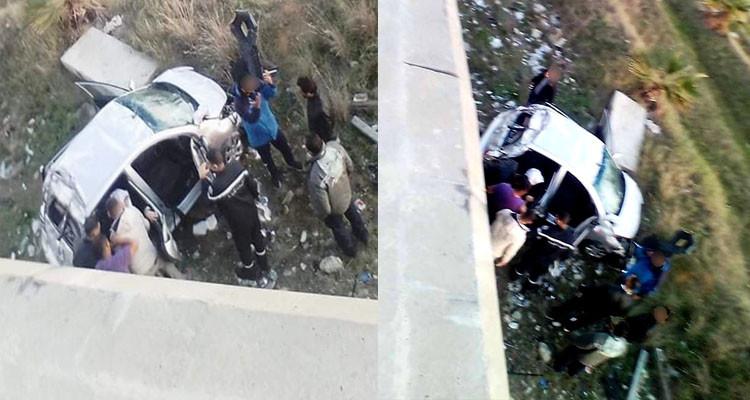 حادث سقوط سيارة من جسر رادس حلق الوادي يخلف 4 مصابين