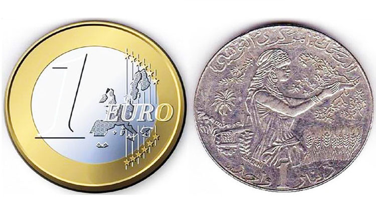 البنك المركزي: ارتفاع طفيف لسعر صرف الدينار مقابل الأورو في فيفري 2021