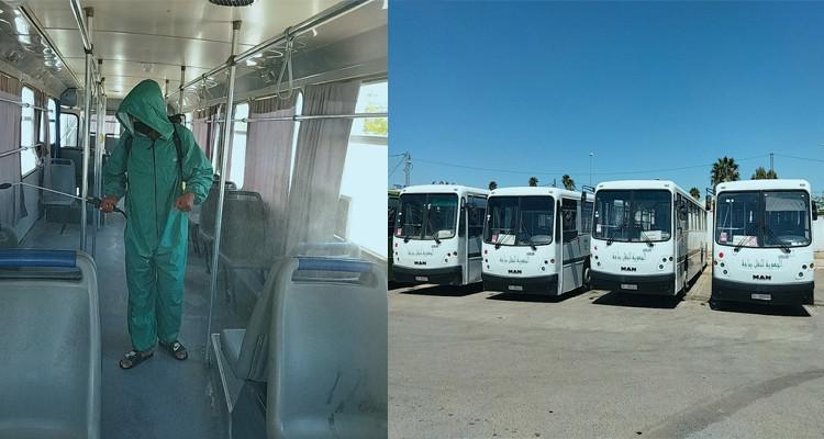 باجة: حملة تعقيم للحافلات التي ستنقل المواطنين للتلقيح غدا