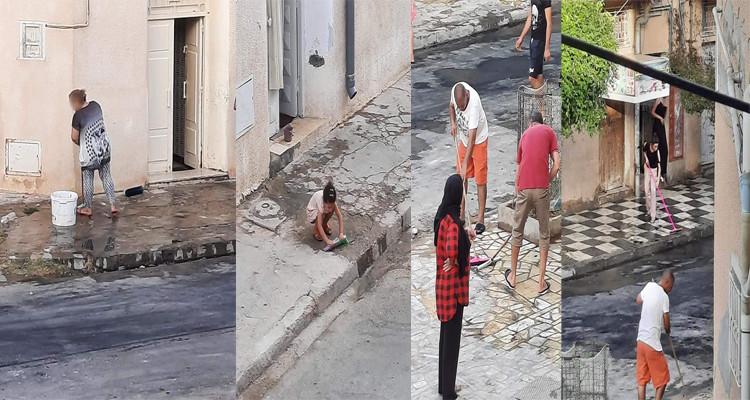 بعد يوم من المواجهات مع الأمن: أهالي الربض يخرجون لتنظيف الشارع