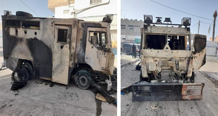 صفاقس: حرق مدرعة تابعة لوحدات التدخل وإصابة أمني بجروح خطيرة