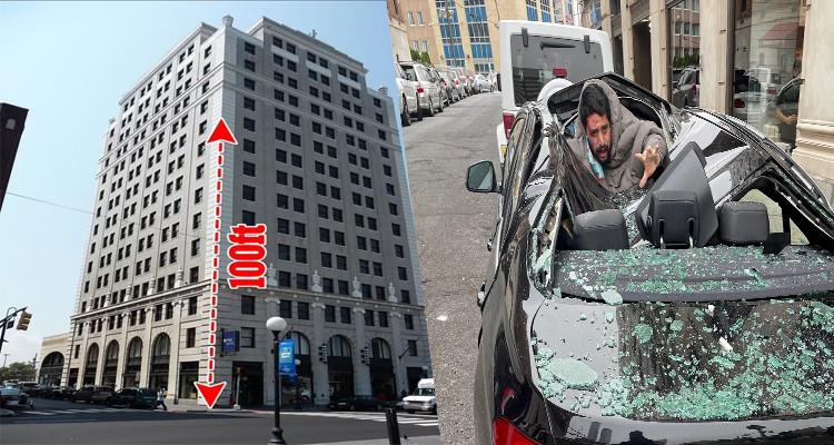 ألقى بنفسه من الطابق التاسع فسقط على سقف إحدى السيارات (فيديو)