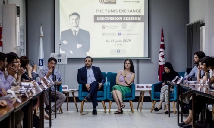 Débat entre Professeurs et étudiants de Sciences Po au campus de l'Université Européenne de Tunis.